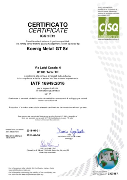 koenig terni certified cisq automotive