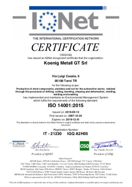 koenig terni certificate igq iso 14001