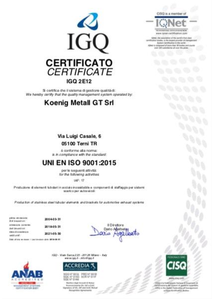 koenig terni certificate igq uni en iso 9001