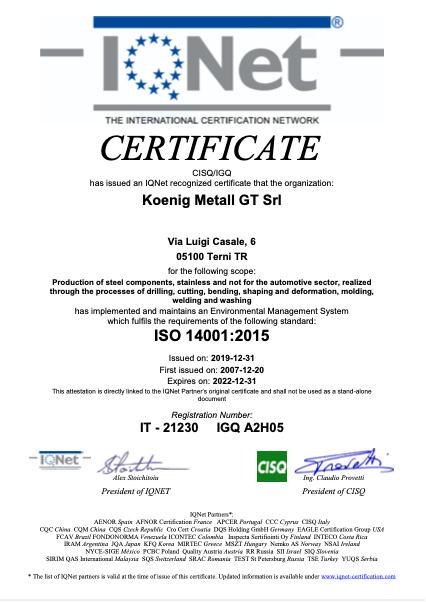 koenig terni certificato igq iso 14001