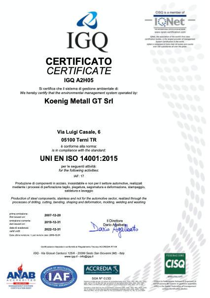 koenig terni certificato igq uni en iso 9001