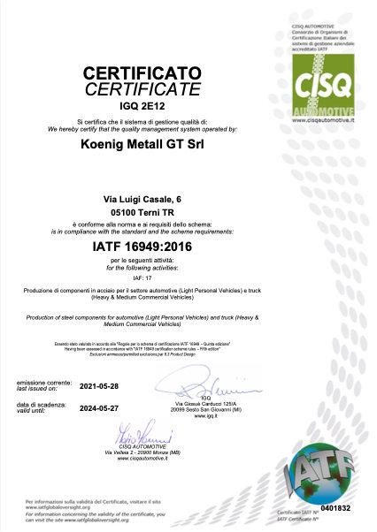 koenig terni certificato iatf16949