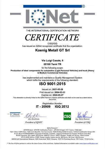 koenig terni certificato iso 9001